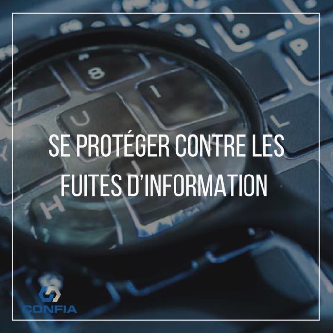 """écran d'ordinateur et loupe, avec écrit « se protéger contre les fuites d'information"""""""